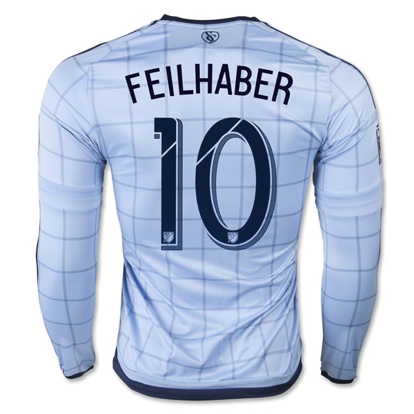Sporting KC 2015 FEILHABER LS Authentic Home Soccer Jersey