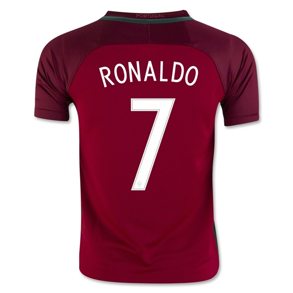 Portugal 2016 RONALDO Youth Home Jersey