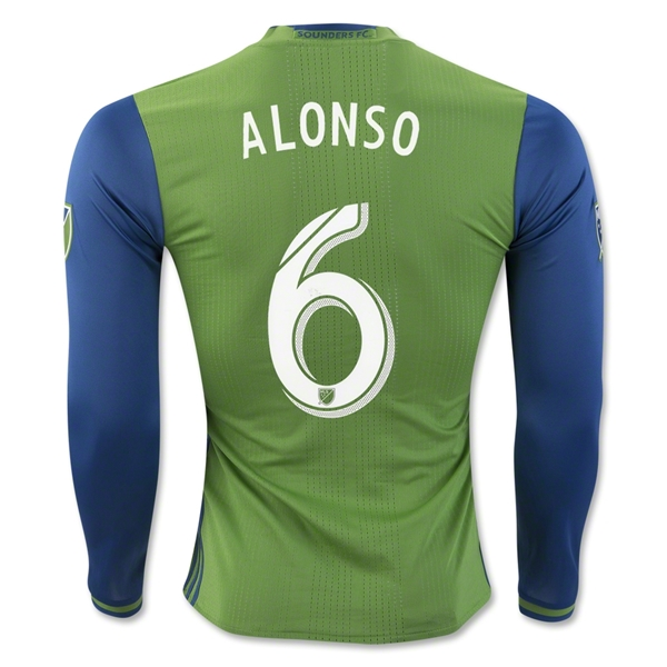Seattle Sounders 2016 ALONSO LS Authentic Home Soccer Jersey